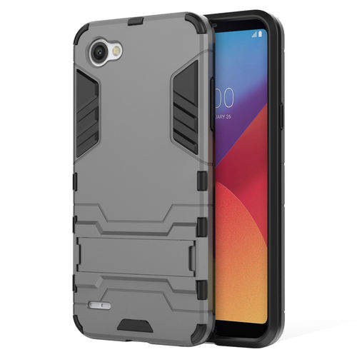Slim Armour Tough Shockproof Case & Stand for LG Q6 - Grey